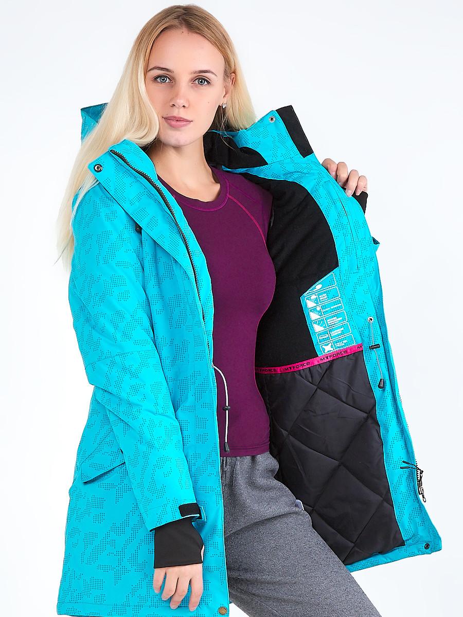 Купить оптом Куртка парка зимняя женская голубого цвета 1949Gl в Перми