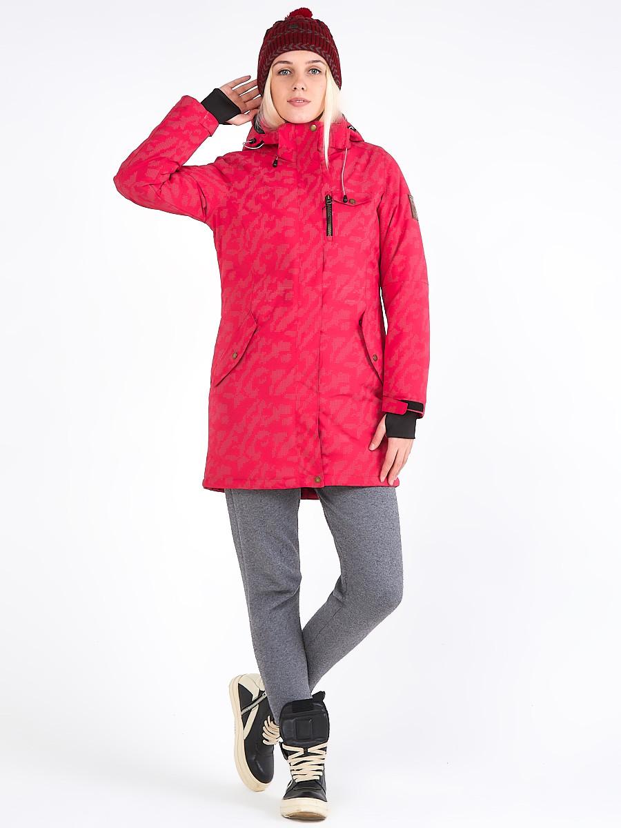 Купить оптом Куртка парка зимняя женская розового цвета 1949R в Екатеринбурге