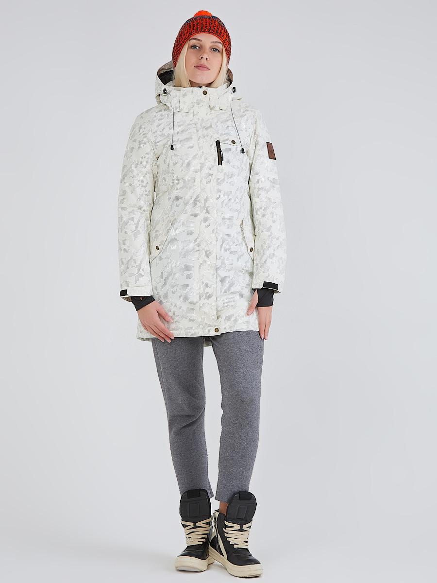 Купить оптом Куртка парка зимняя женская белого цвета 1949Bl в  Красноярске