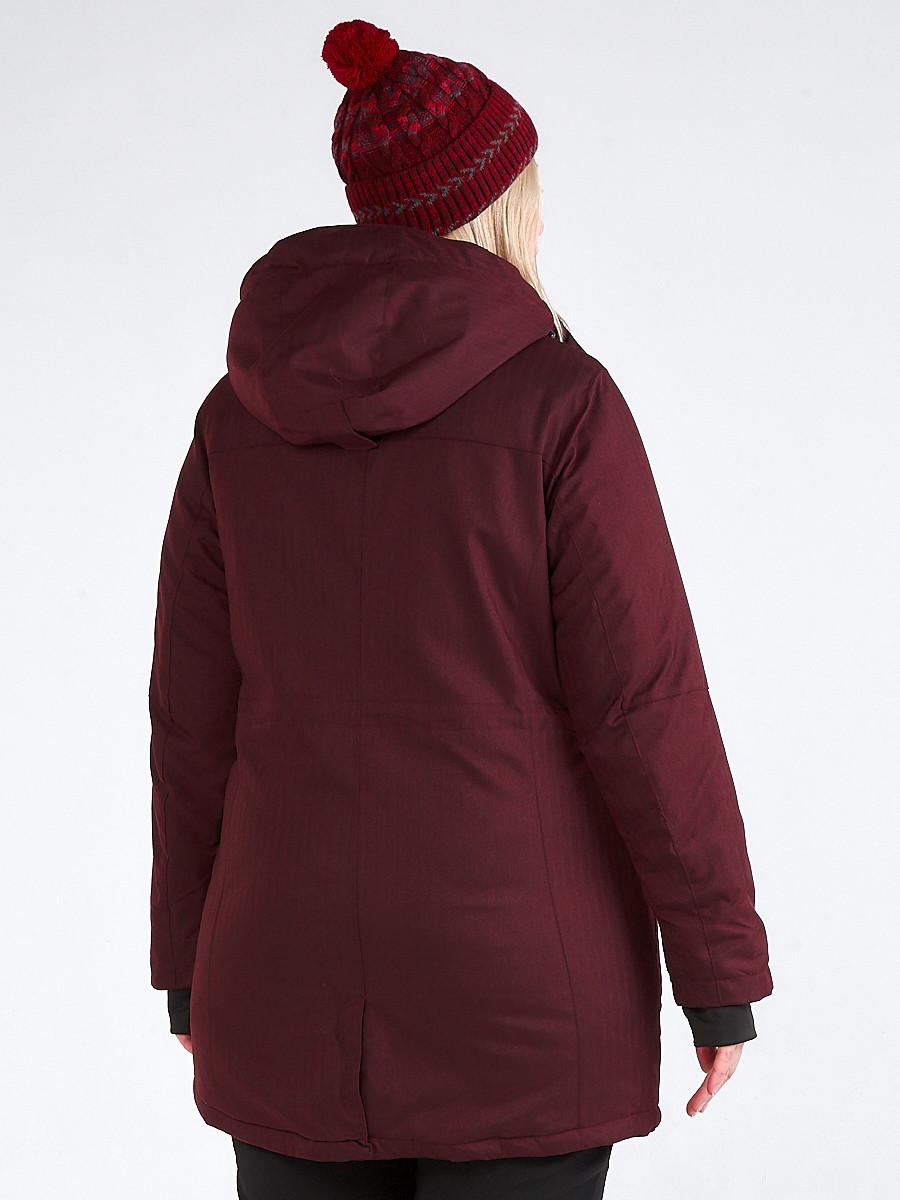 Купить оптом Куртка парка зимняя женская большого размера бордового цвета 19491Bo в Перми
