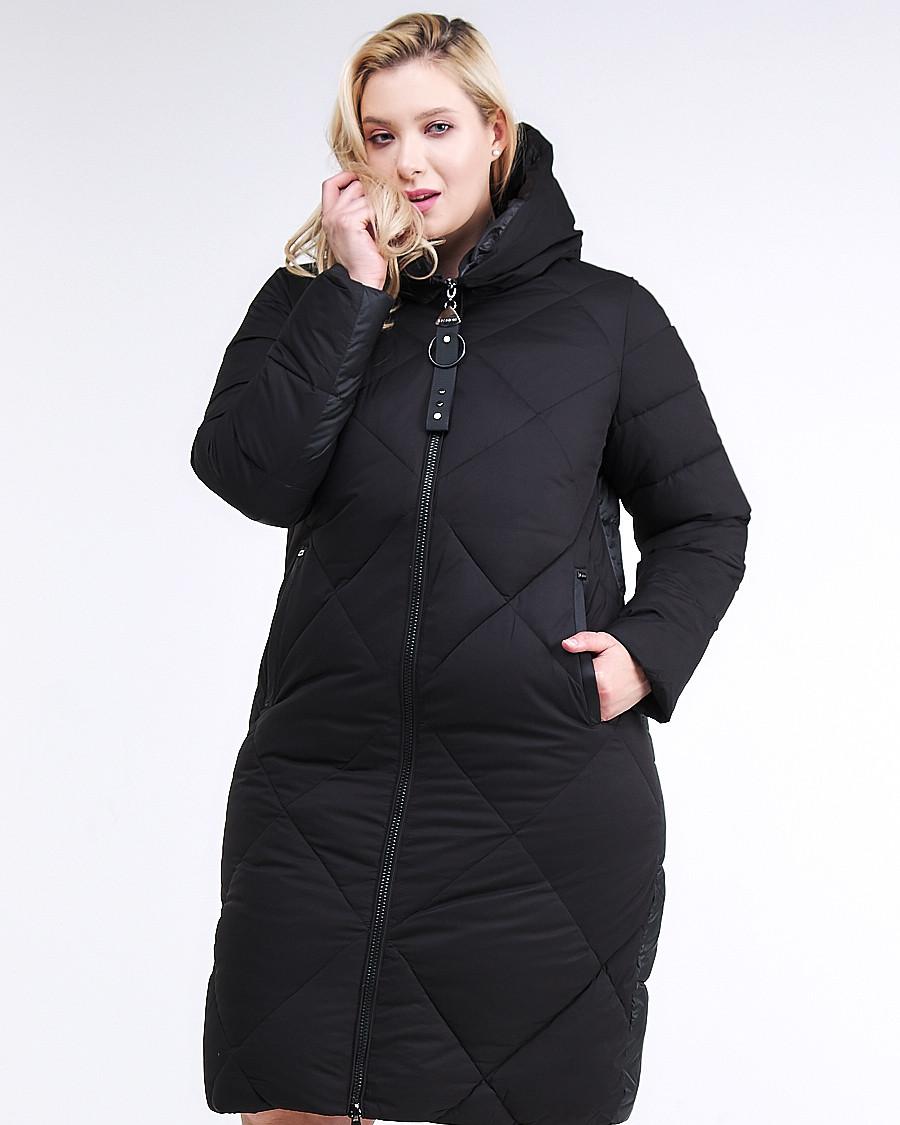 Купить оптом Куртка зимняя женская одеяло черного цвета 1959_01Ch в Екатеринбурге