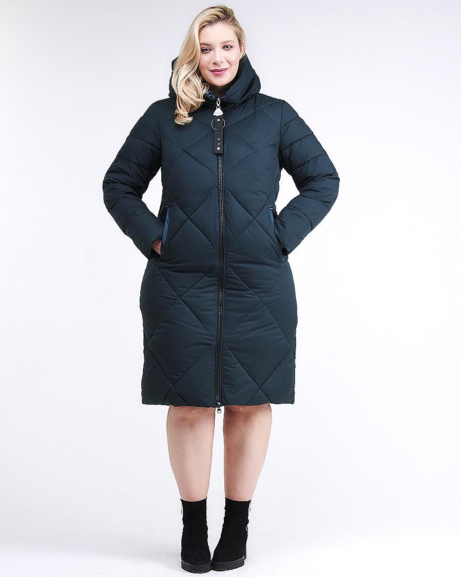 Купить оптом Куртка зимняя женская одеяло темно-зеленого цвета 1959_03TZ в Казани