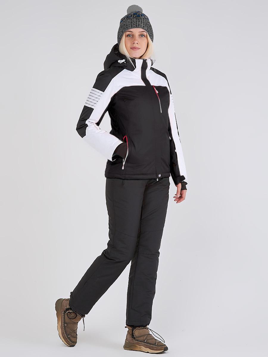Купить оптом Женская зимняя горнолыжная куртка черного цвета 19601Ch в Санкт-Петербурге