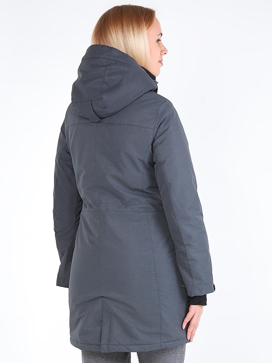 Купить оптом Куртка парка зимняя женская темно-серого цвета 19621TC в Перми
