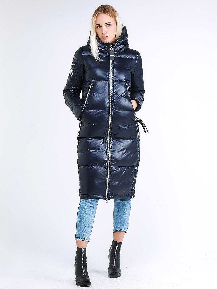 Купить оптом Куртка зимняя женская классическая темно-синего цвета 1962_02TS в Екатеринбурге