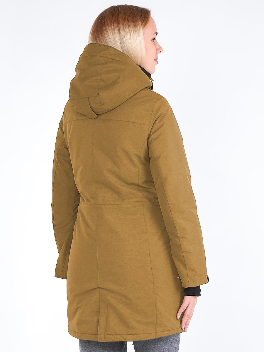 Купить оптом Куртка парка зимняя женская горчичного цвета 19621G в Санкт-Петербурге