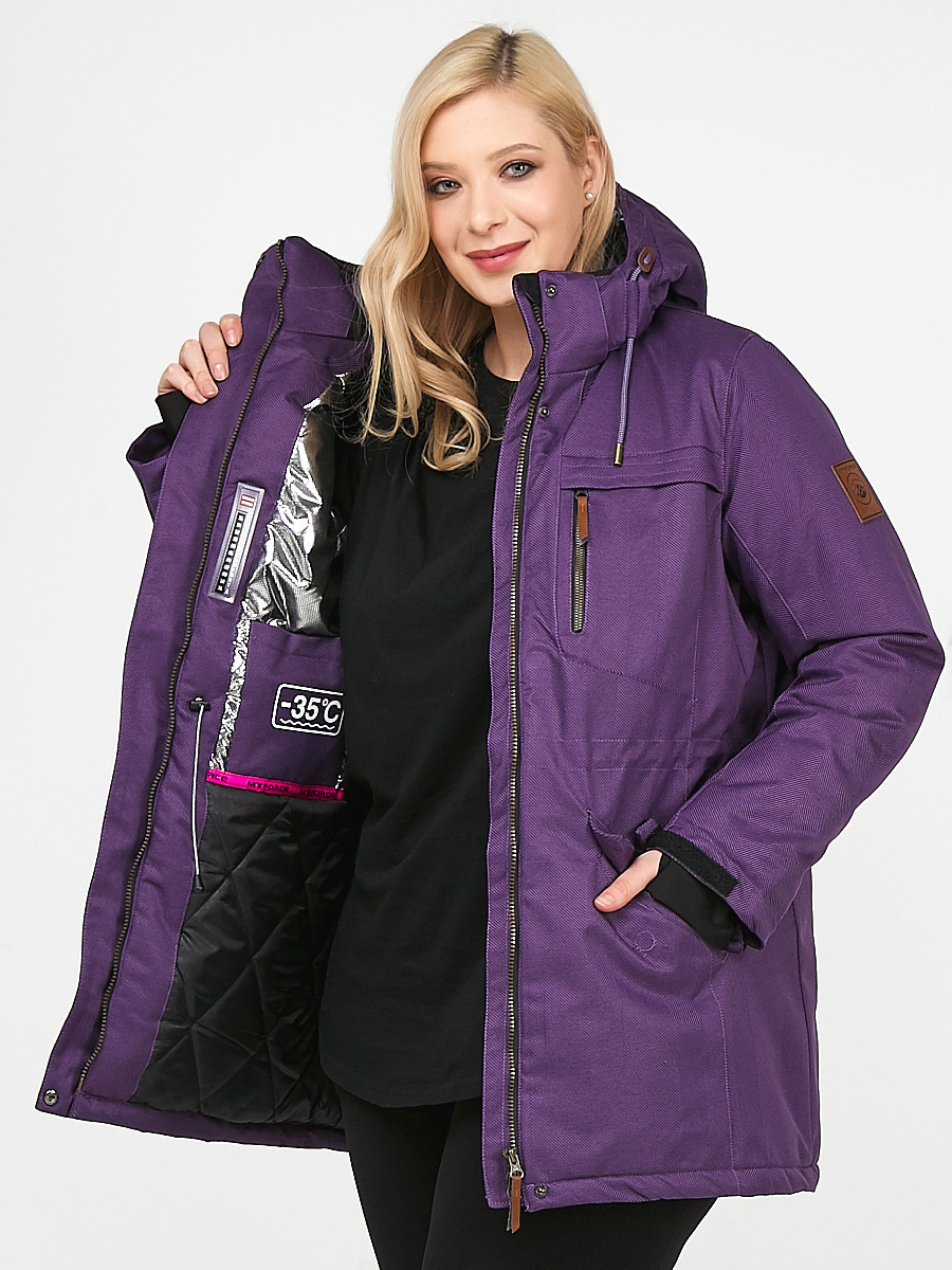 Купить оптом Женская зимняя парка большого размера фиолетового цвета 1964F в Санкт-Петербурге
