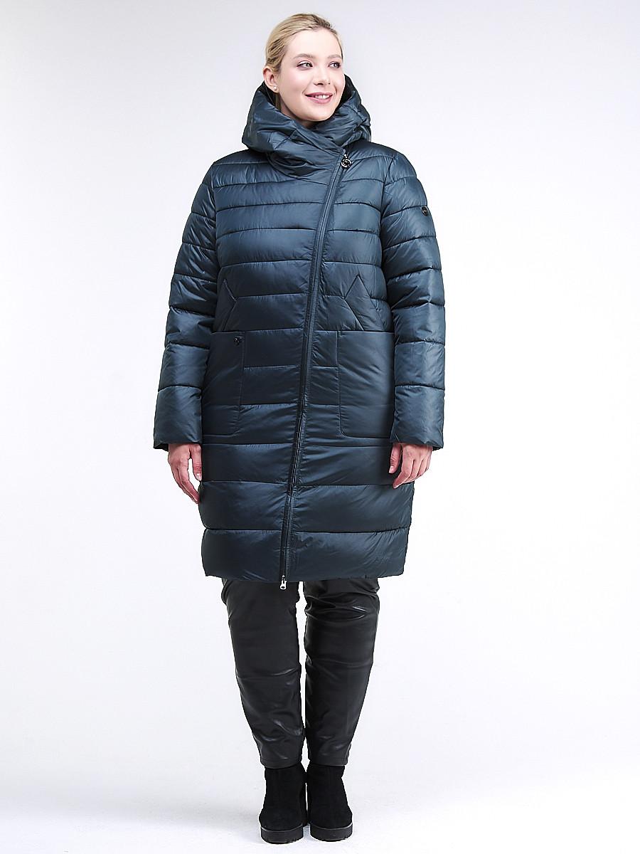 Купить оптом Куртка зимняя женская классика болотного цвета 1968_20Bt в Казани
