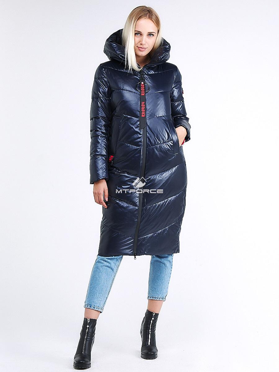 Купить оптом Куртка зимняя женская молодежная темно-синий цвета 1969_02TS в Казани