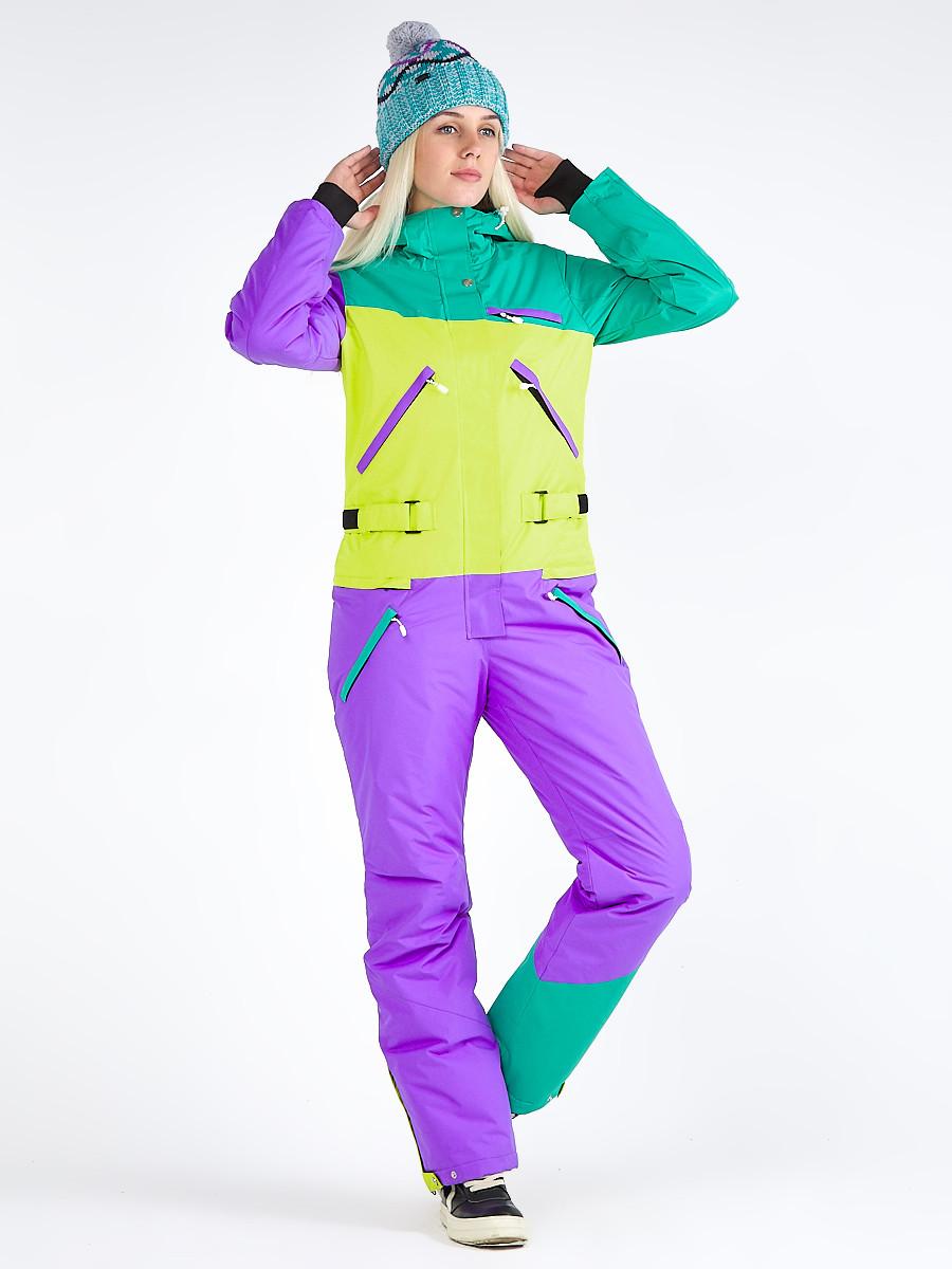 Купить оптом Женский зимний комбинезон фиолетового цвета 19691F в Казани