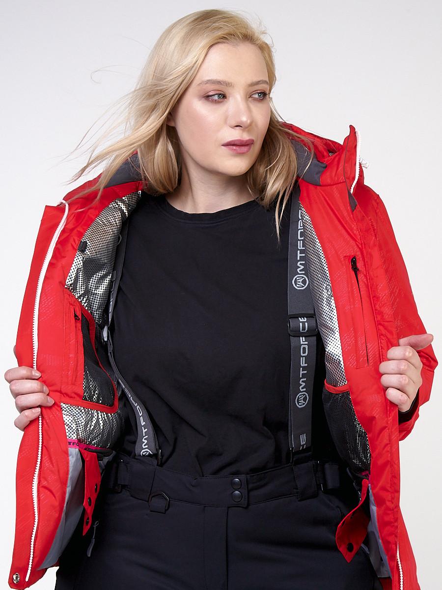 Купить оптом Куртка горнолыжная женская большого размера красного цвета 21982Kr в Перми