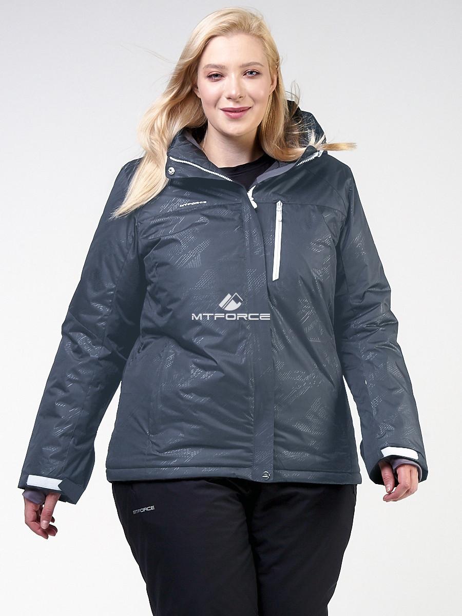 Купить оптом Куртка горнолыжная женская большого размера черного цвета 21982Ch