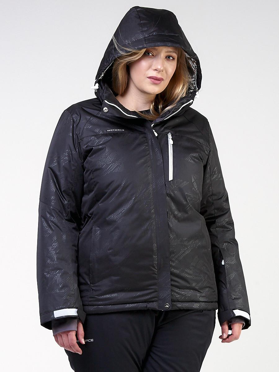 Купить оптом Куртка горнолыжная женская большого размера черного цвета 21982Ch в Екатеринбурге