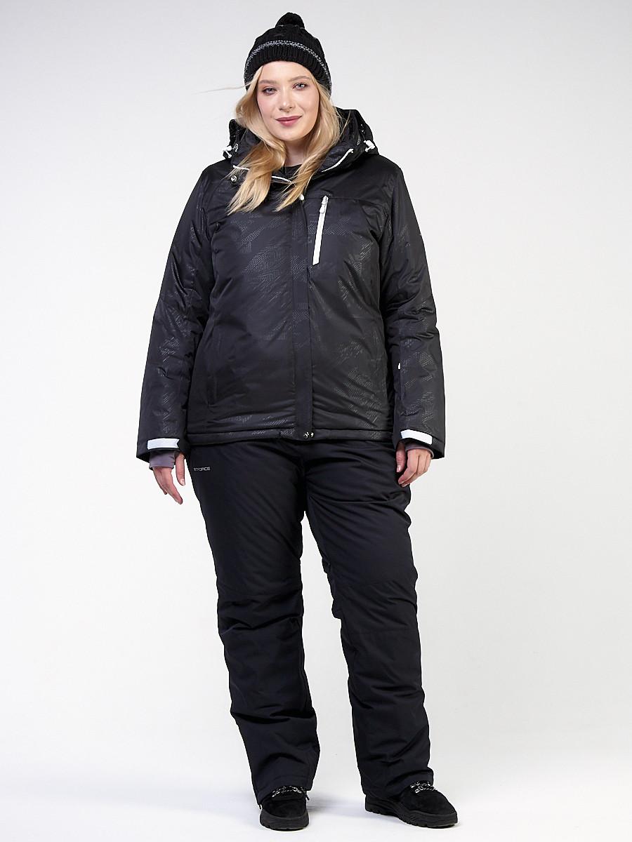Купить оптом Костюм горнолыжный женский большого размера черного цвета 021982Ch