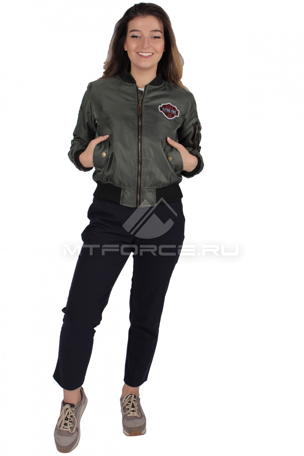 Купить                                  оптом Куртка-бомбер женская свободного кроя из нейлона цвета хаки 1983Kh