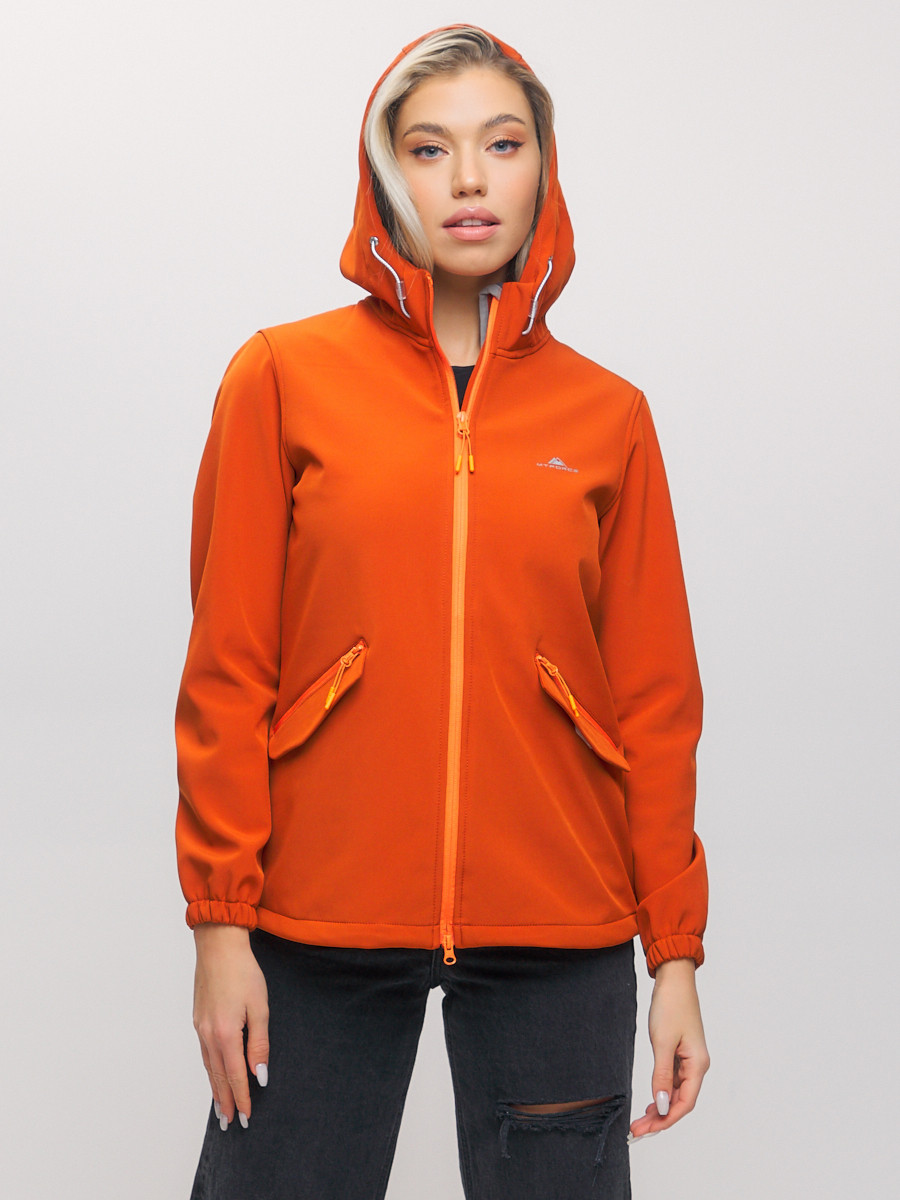 Купить оптом Ветровка MTFORCE женская оранжевого цвета 20014-1O в Екатеринбурге