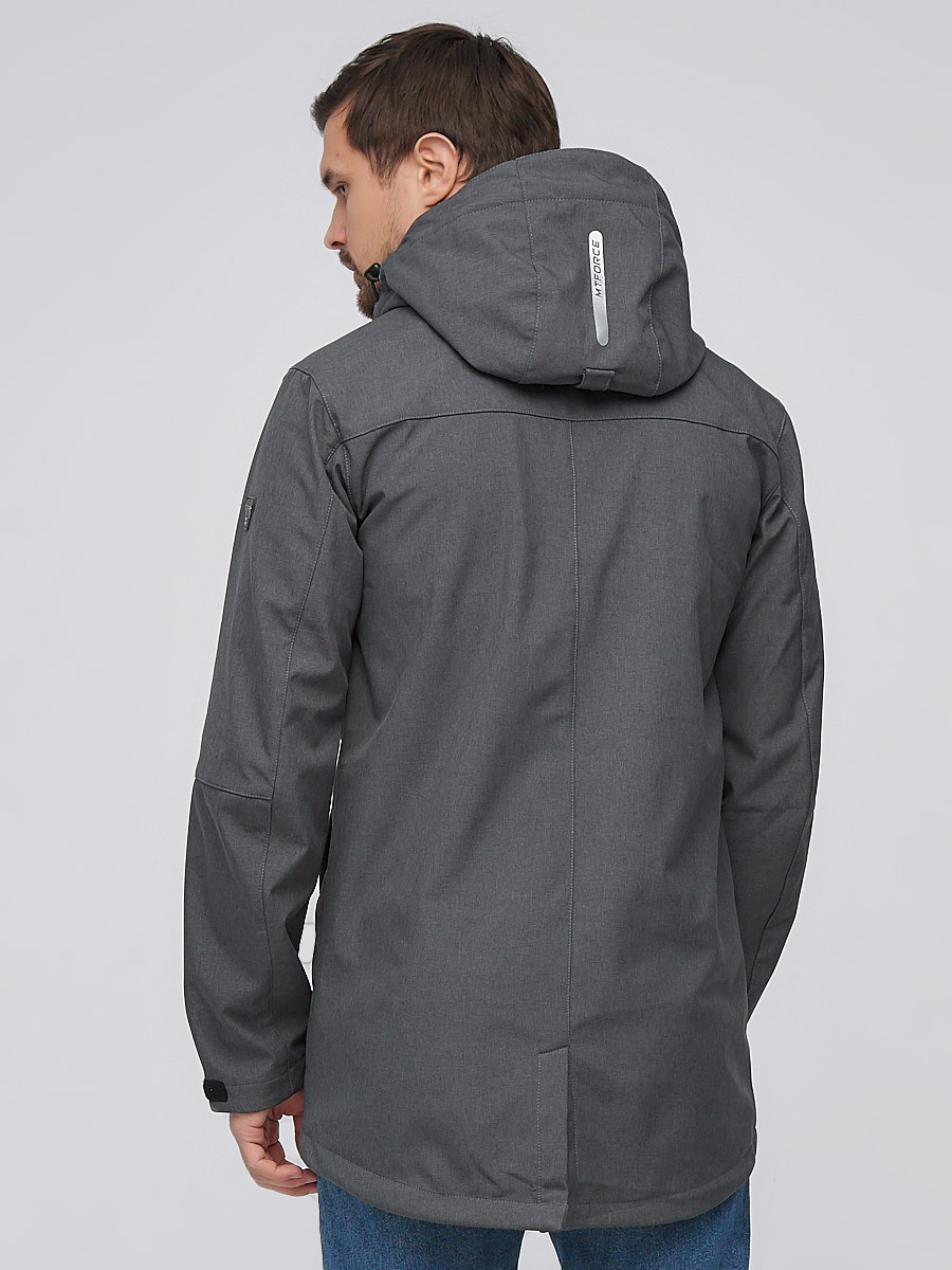 Купить оптом Парка мужская осенняя весенняя softshell темно-серого цвета  2010TC
