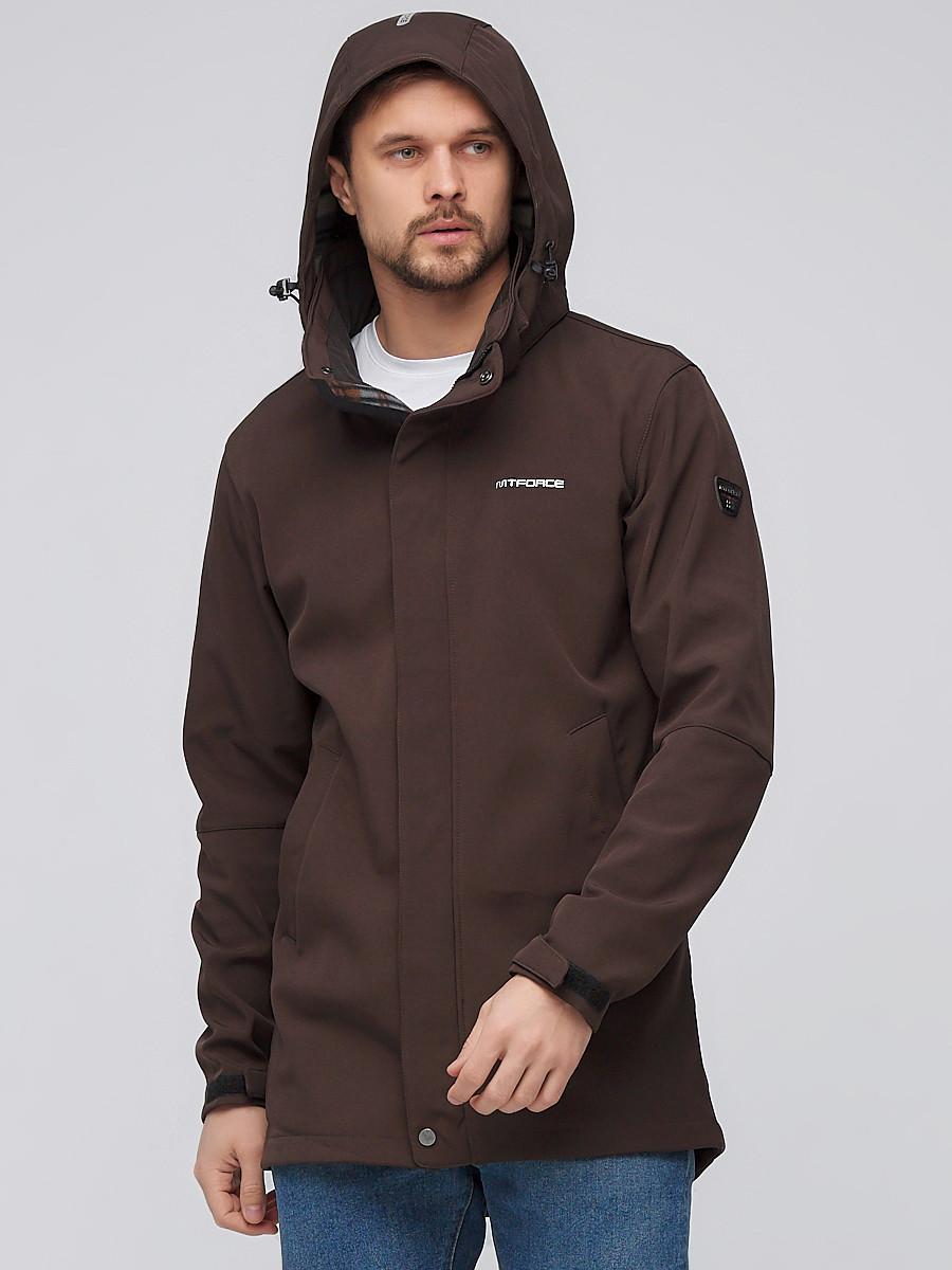 Купить оптом Парка мужская осенняя весенняя softshell коричневого цвета 2010K