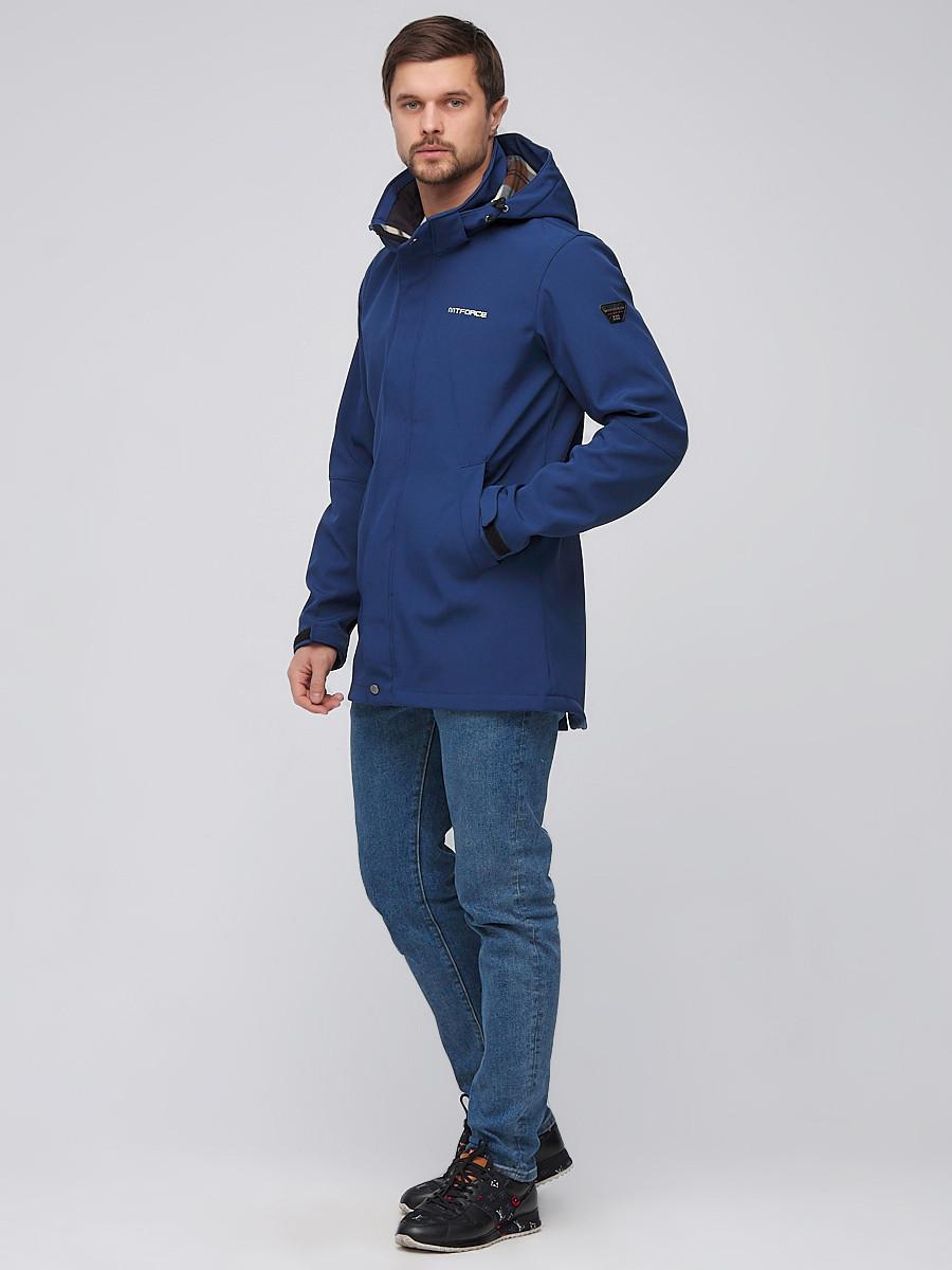 Купить оптом Парка мужская осенняя весенняя softshell темно-синего цвета 2010TS