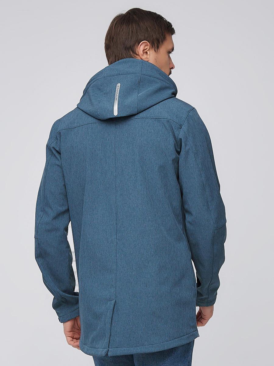 Купить оптом Парка мужская осенняя весенняя softshell голубого цвета  2010Gl