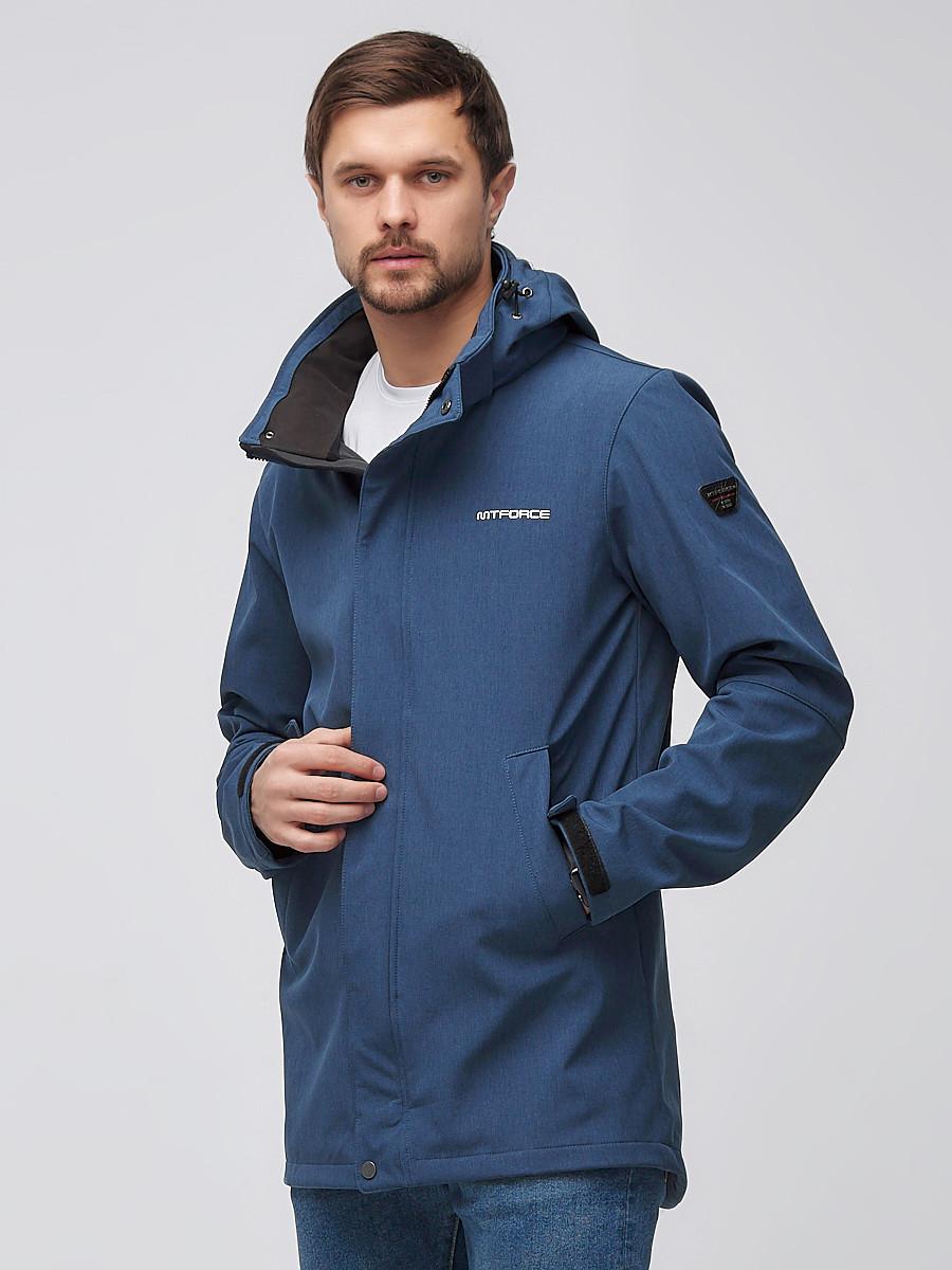 Купить оптом Парка мужская осенняя весенняя softshell синего цвета 2010S
