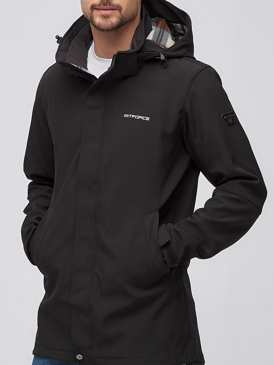 Купить оптом Парка мужская осенняя весенняя softshell черного цвета 2010Ch