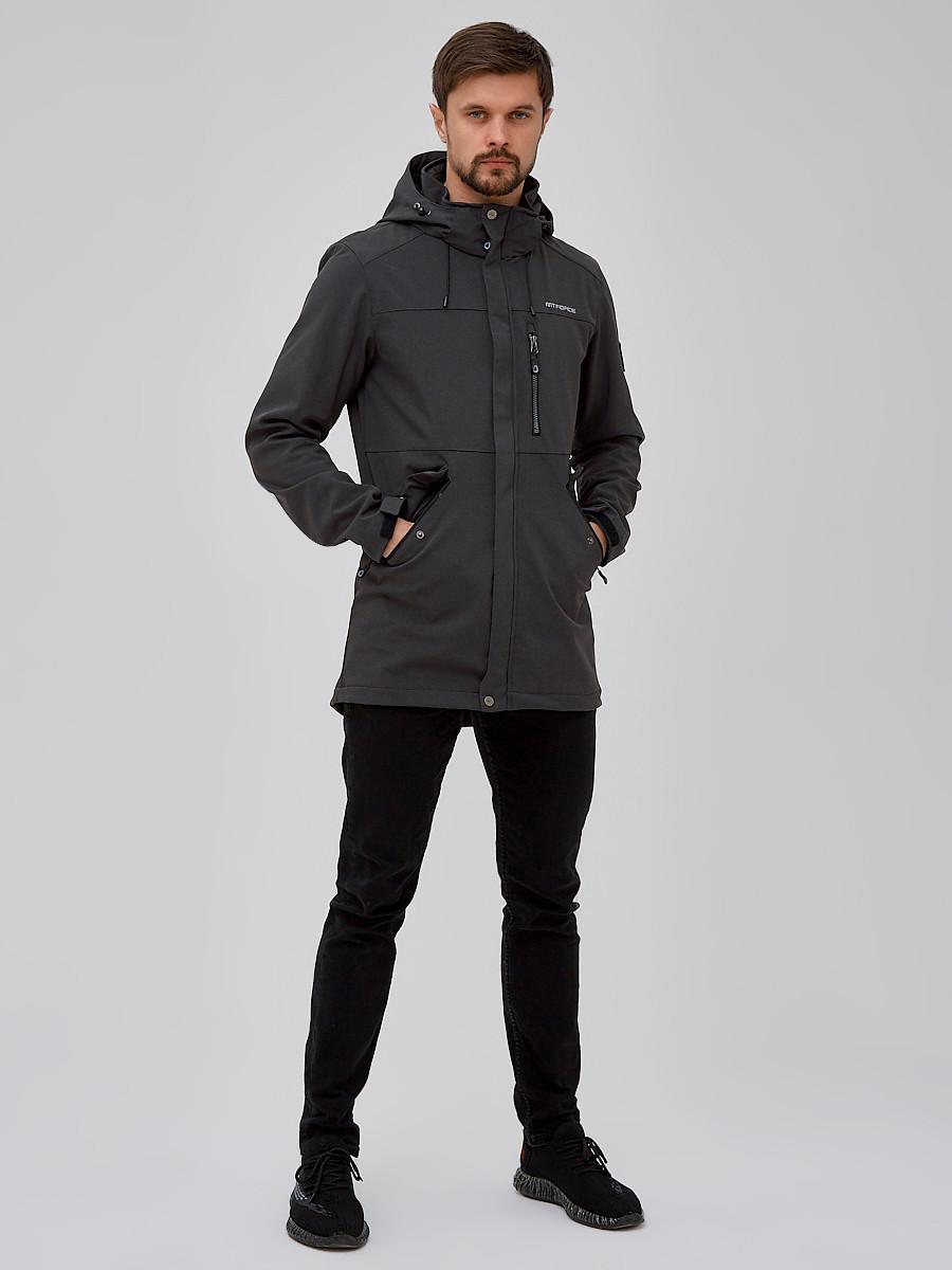 Купить оптом Парка мужская осенняя весенняя softshell темно-серого цвета 2018TC