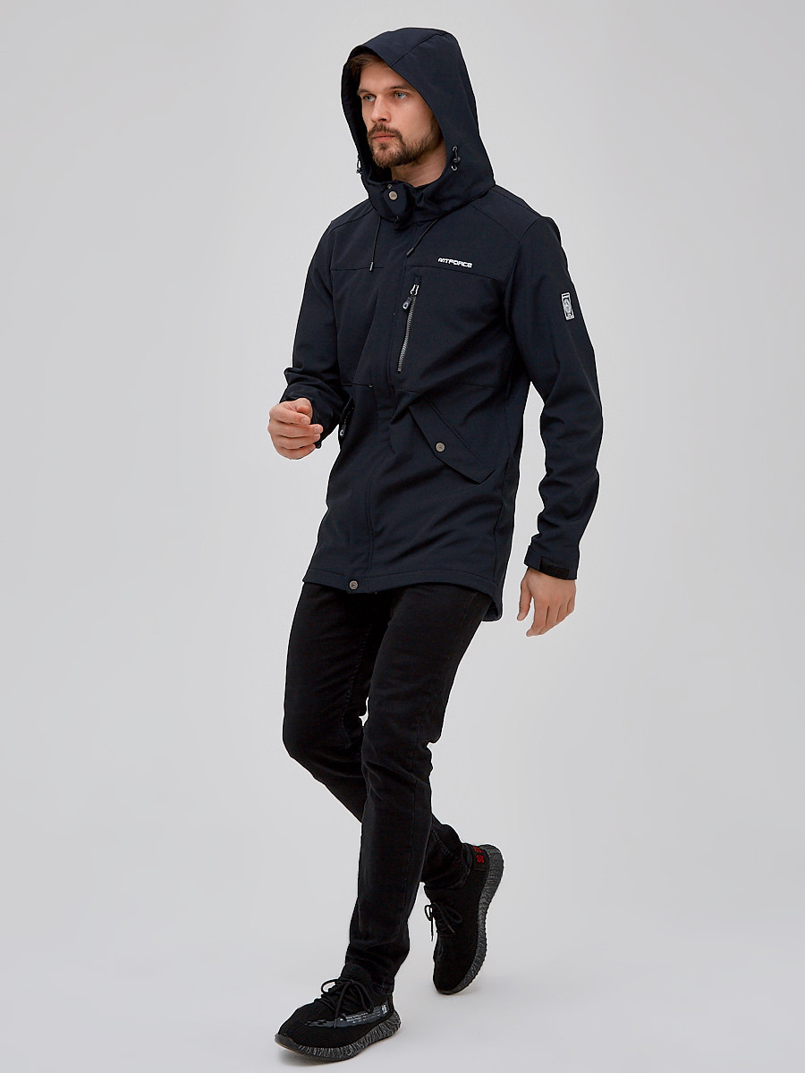 Купить оптом Парка мужская осенняя весенняя softshell темно-синего цвета 2018TS