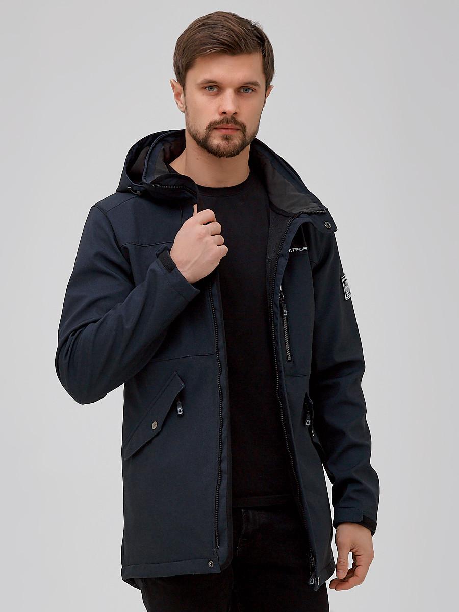 Купить оптом Парка мужская осенняя весенняя softshell темно-синего цвета 2018-1TS