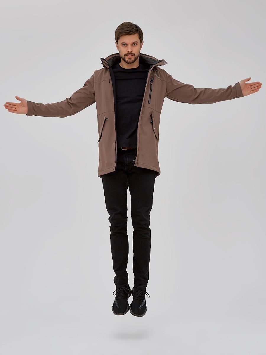 Купить оптом Парка мужская осенняя весенняя softshell коричневого цвета 2018K
