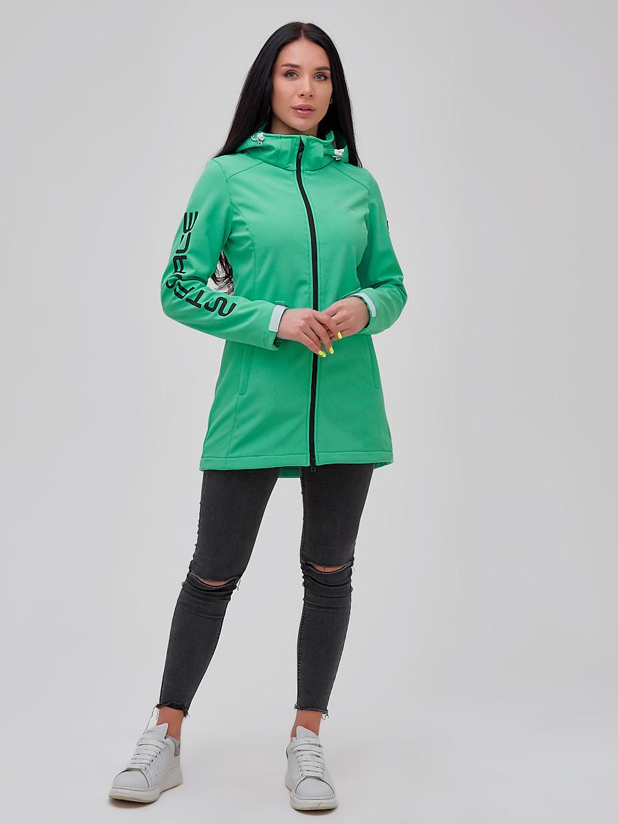 Купить оптом Парка женская осенняя весенняя softshell зеленого цвета 2023Z в Екатеринбурге