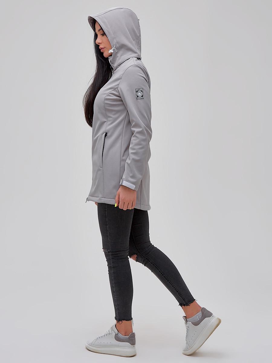 Купить оптом Парка женская осенняя весенняя softshell серого цвета 2023Sr в Самаре