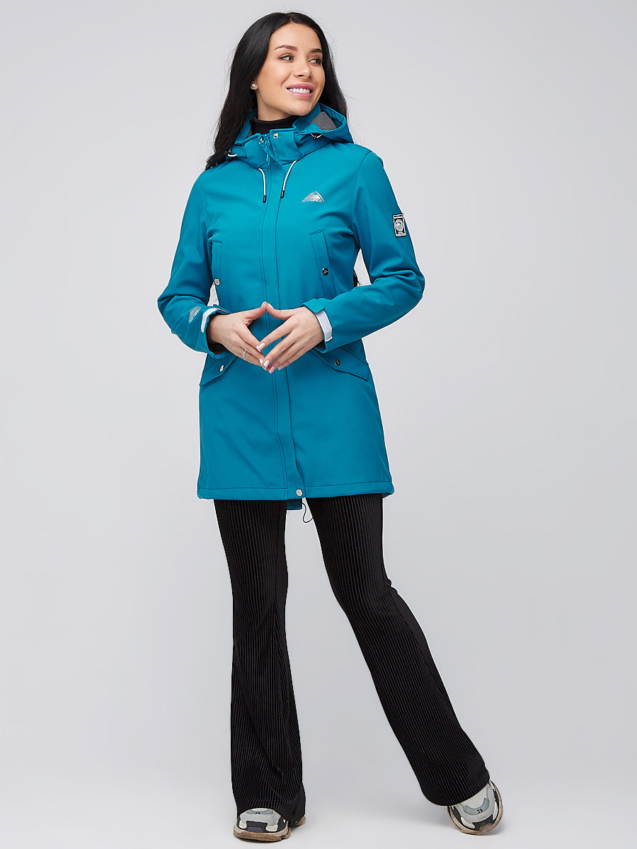 Купить оптом Парка женская осенняя весенняя softshell бирюзового цвета 2026Br