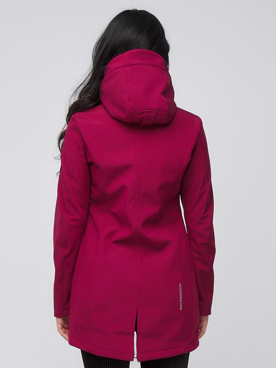 Купить оптом Парка женская осенняя весенняя softshell бордового цвета 2028Bo в Новосибирске
