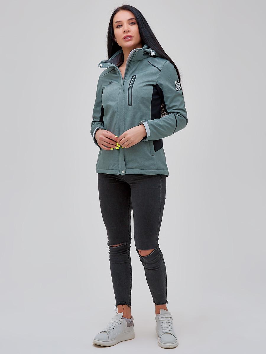 Купить оптом Ветровка softshell женская бирюзового цвета 2036Br в Екатеринбурге
