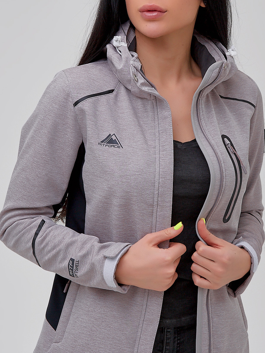 Купить оптом Ветровка softshell женская серого цвета 2036Sr