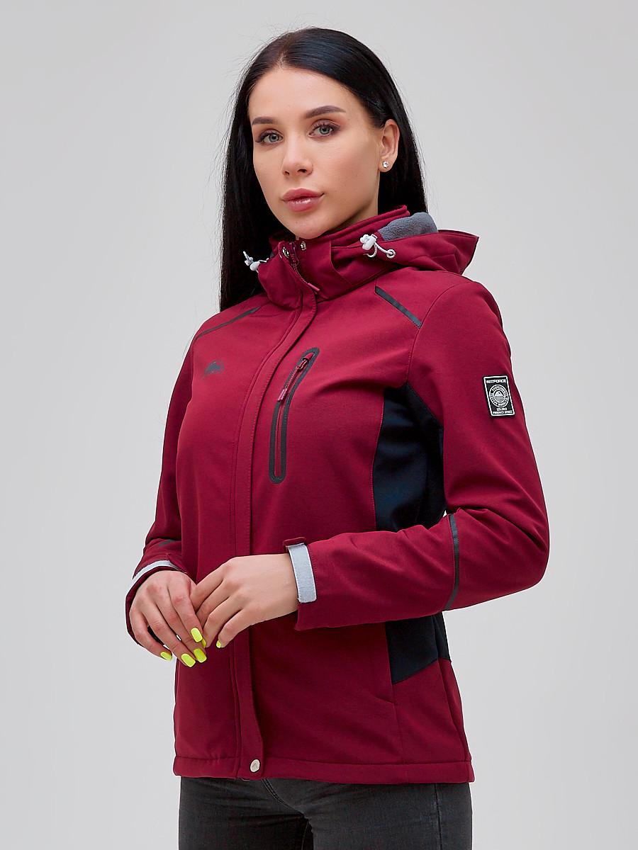 Купить оптом Ветровка softshell женская бордового цвета 2036Bo