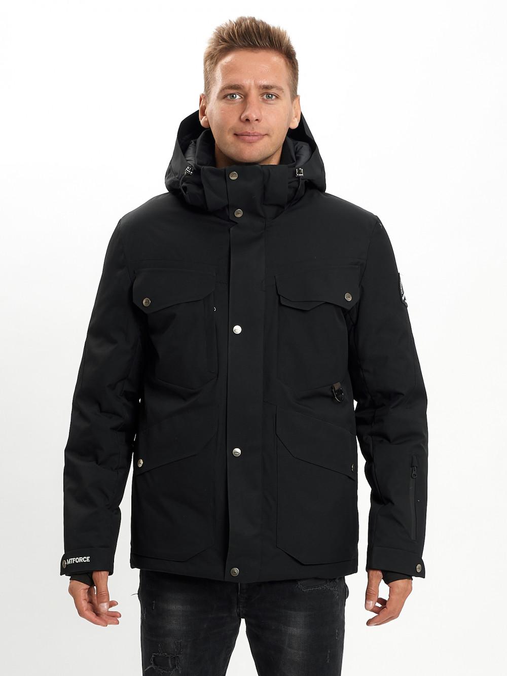 Купить оптом Горнолыжная куртка мужская MTFORCE черного цвета 2088Ch в Екатеринбурге