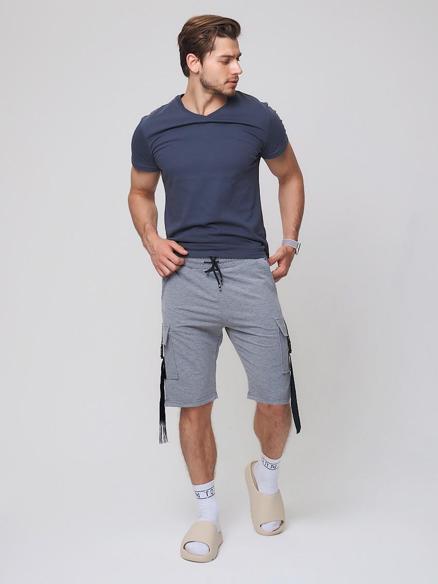 Купить оптом Летние шорты трикотажные мужские серого цвета 21005Sr