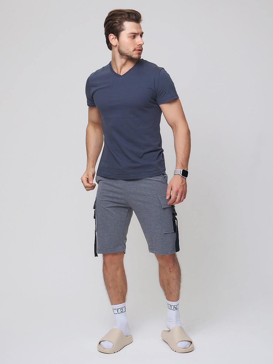 Купить оптом Летние шорты трикотажные мужские темно-серого цвета 21005TC