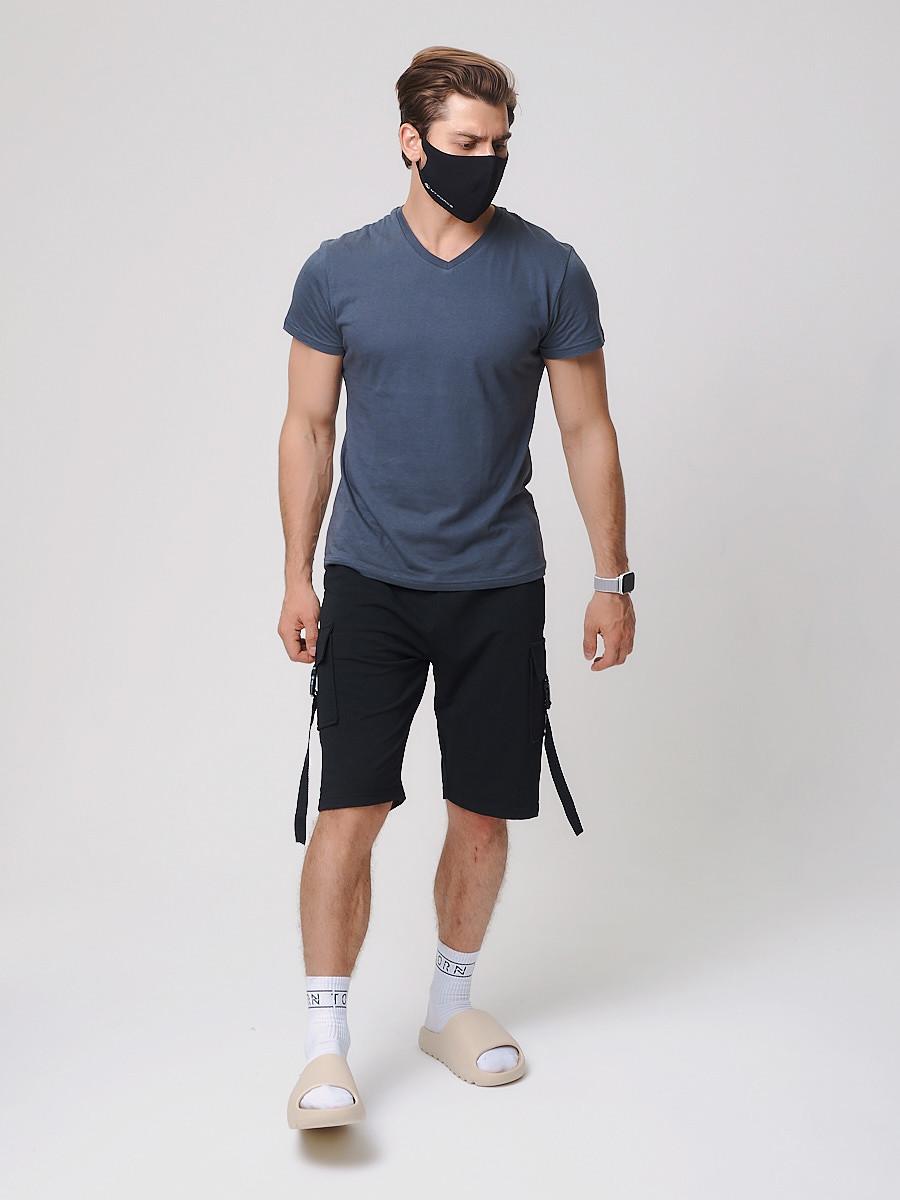 Купить оптом Летние шорты трикотажные мужские черного цвета 21005Ch