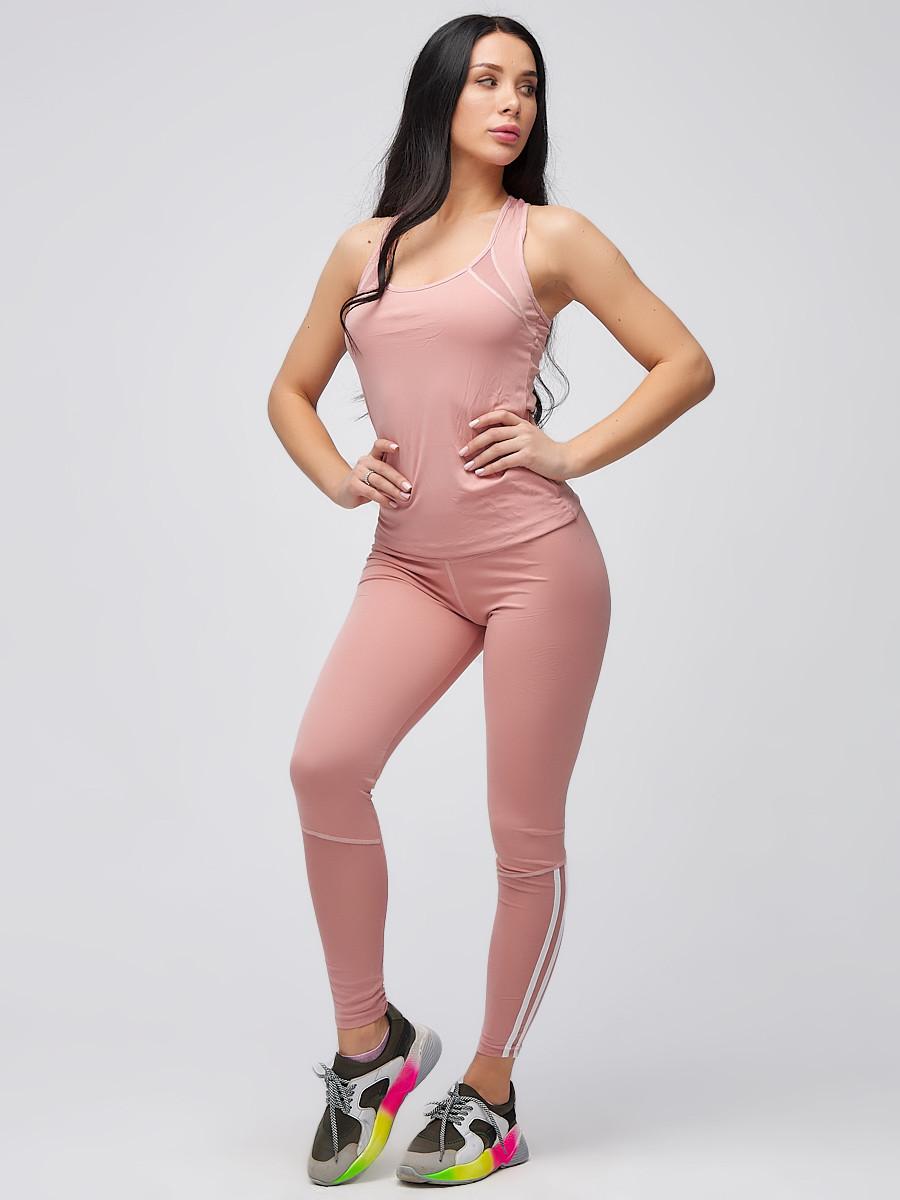 Купить оптом Спортивный костюм для фитнеса женский розового цвета 21106R