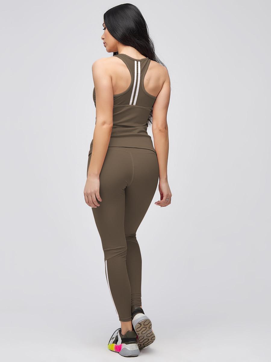 Купить оптом Спортивный костюм для фитнеса женский цвета хаки 21106Kh