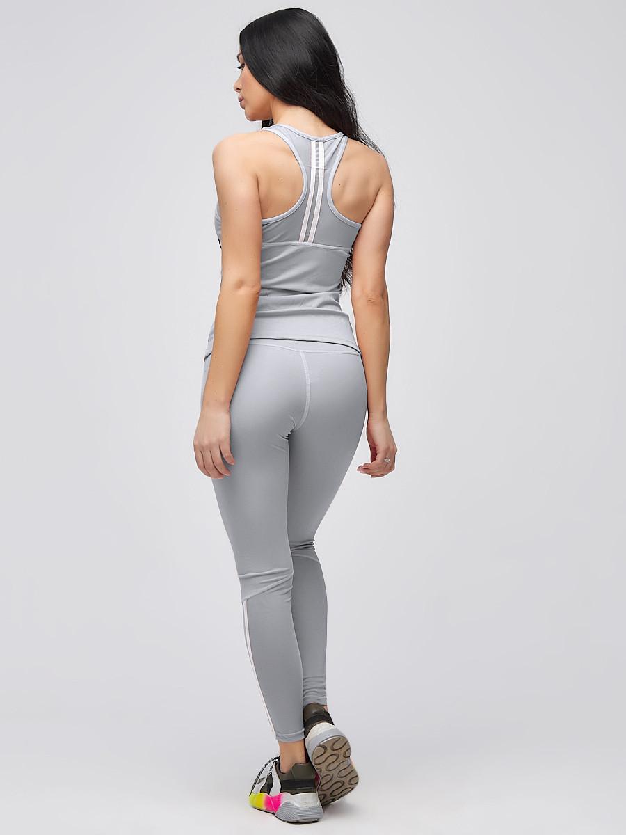 Купить оптом Спортивный костюм для фитнеса женский серого цвета 21106Sr