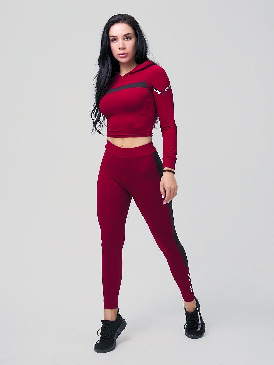 Купить оптом Спортивный костюм для фитнеса женский бордового цвета 212912Bo