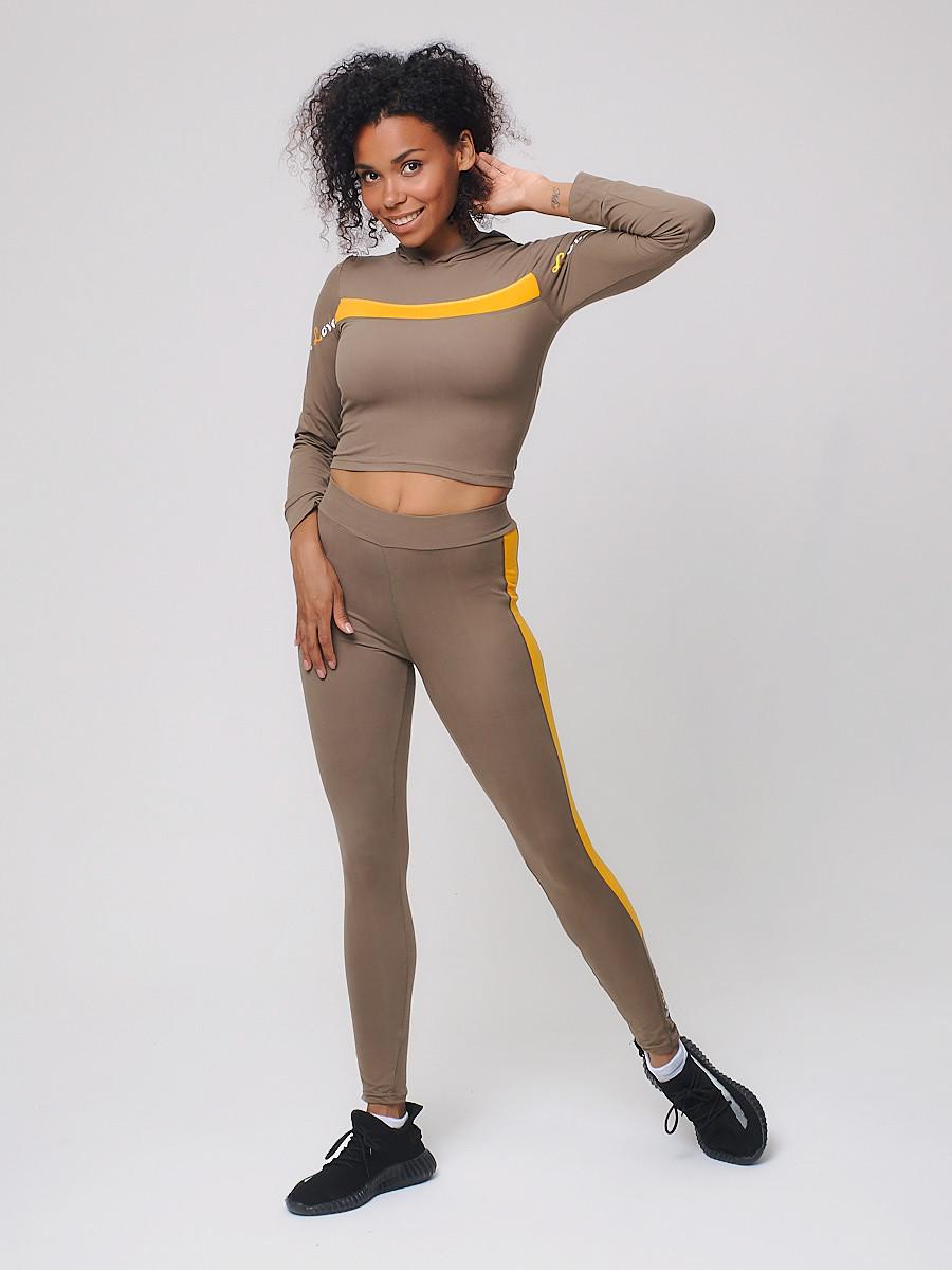 Купить оптом Спортивный костюм для фитнеса женский цвета хаки 212912Kh