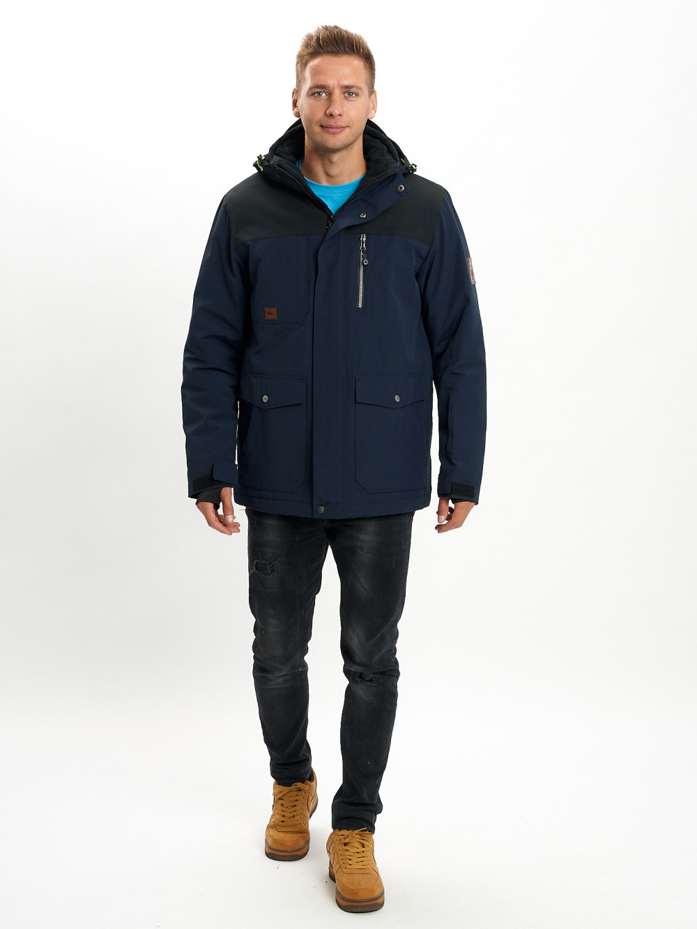 Купить оптом Молодежная зимняя куртка мужская темно-синего цвета 2155TS в Екатеринбурге