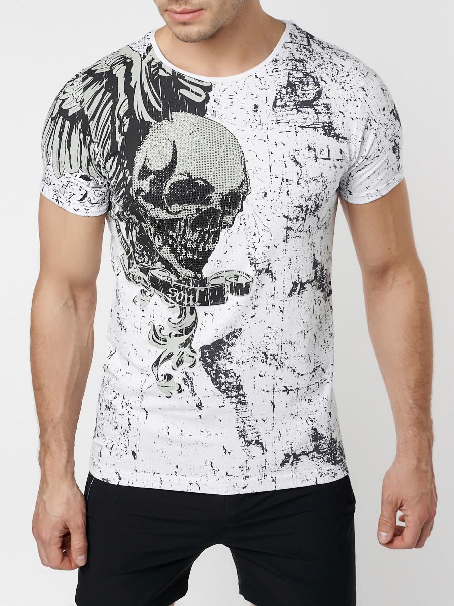 Купить оптом Подростковая футболка белого цвета 220035Bl в Екатеринбурге