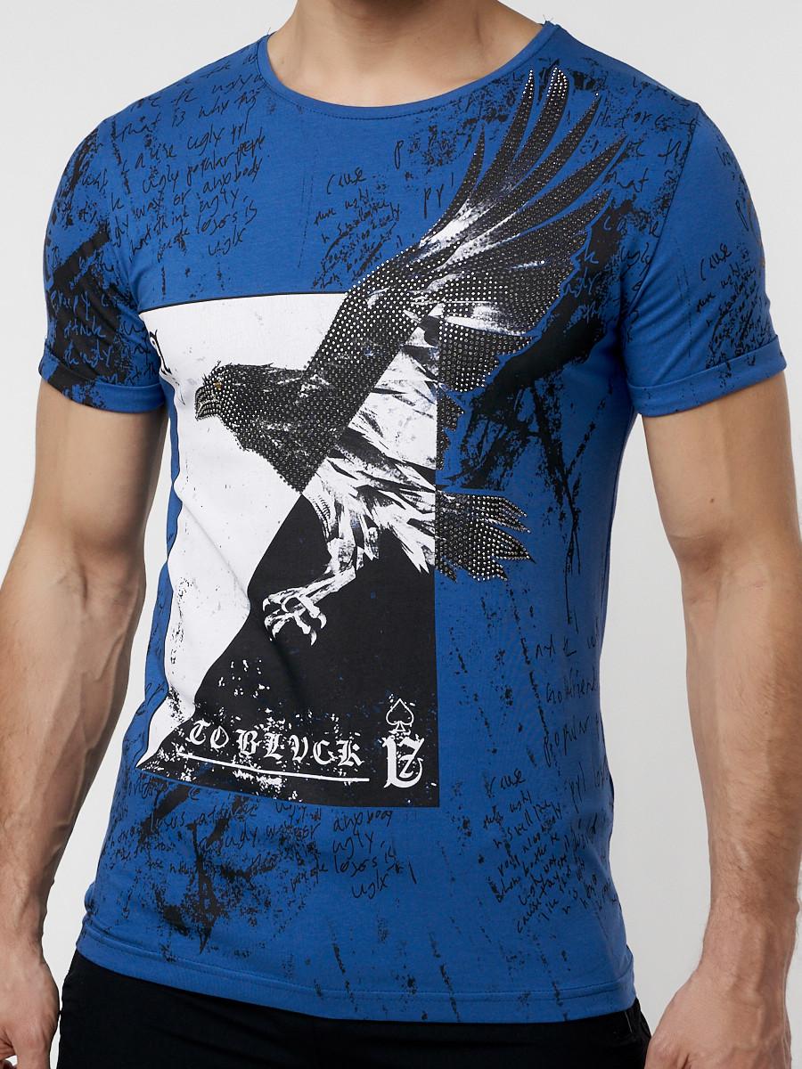 Купить оптом Подростковая футболка синего цвета 220036S в Екатеринбурге