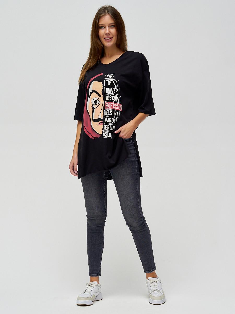 Купить оптом Женские футболки туники черного цвета 22003Ch